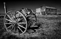 Bodie Cart in the field B & W