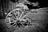 Bodie Wagon Wheel with clouds B & W