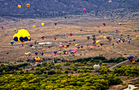 Balloons drifting over Albuquerque viewed from a Balloon
