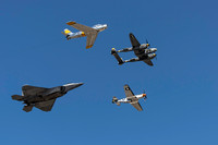 F-22 with a F-86 and P-38 and P-51