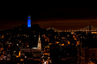 Coit Tower and Bay Bridge at Night