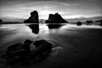 Bandon Beach Sunset in B & W